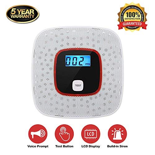 Carbon Monoxide Alarm Detector with Digital LCD Display and Voice Warning