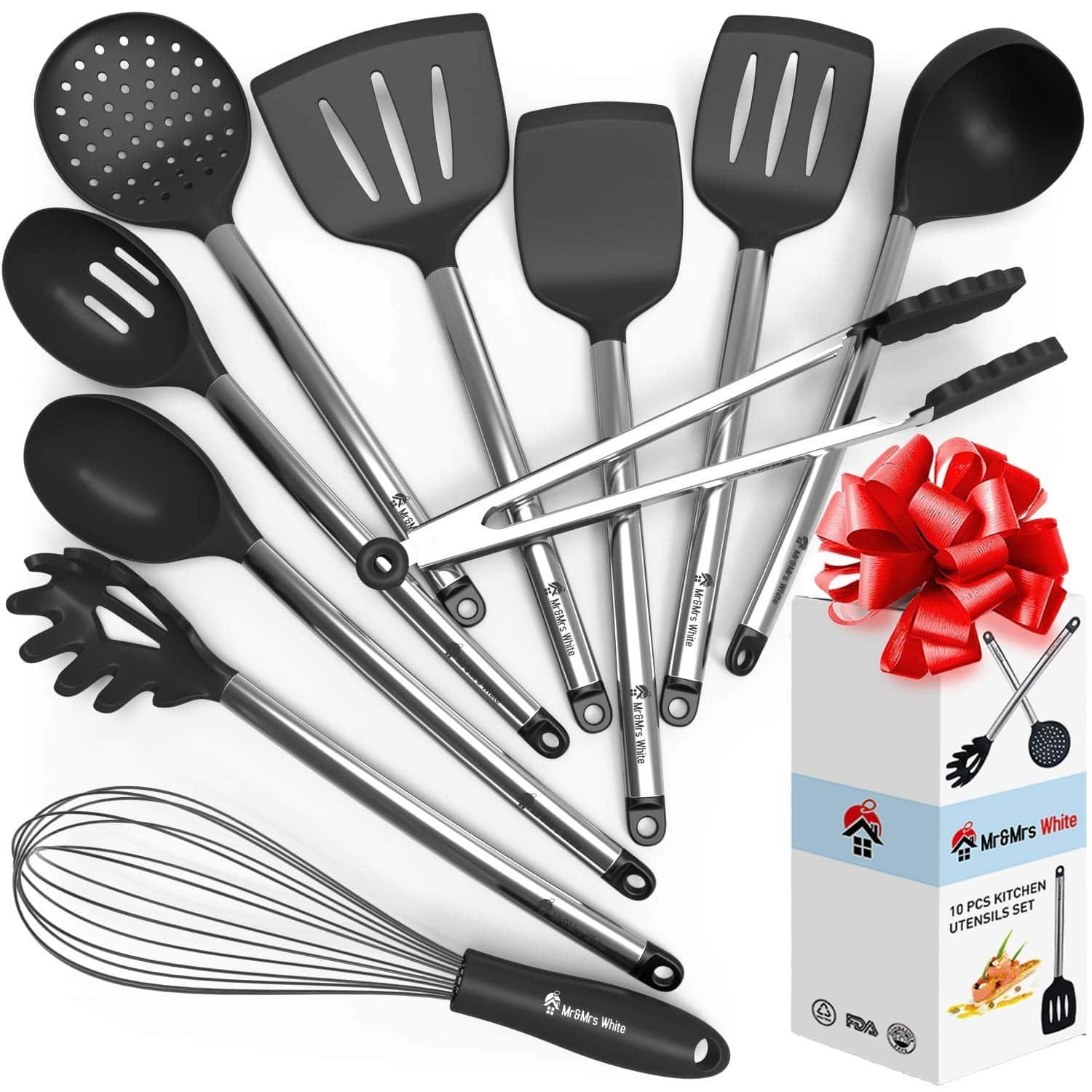 Mr & Mrs. White Cooking Utensil Set