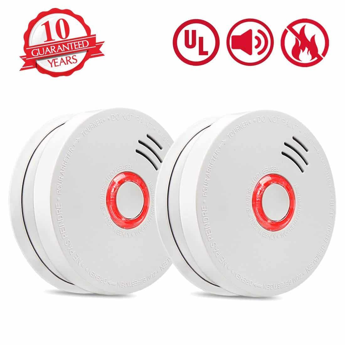 Smoke Detector Fire Alarm, 2 Packs Photoelectric Smoke Detectors