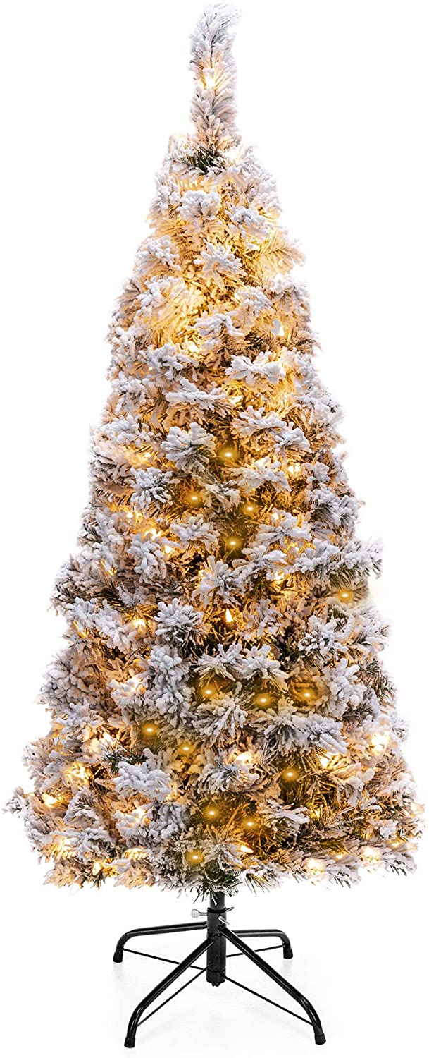 4.5ft Pre-Lit Artificial Snow Flocked Pencil Christmas Tree