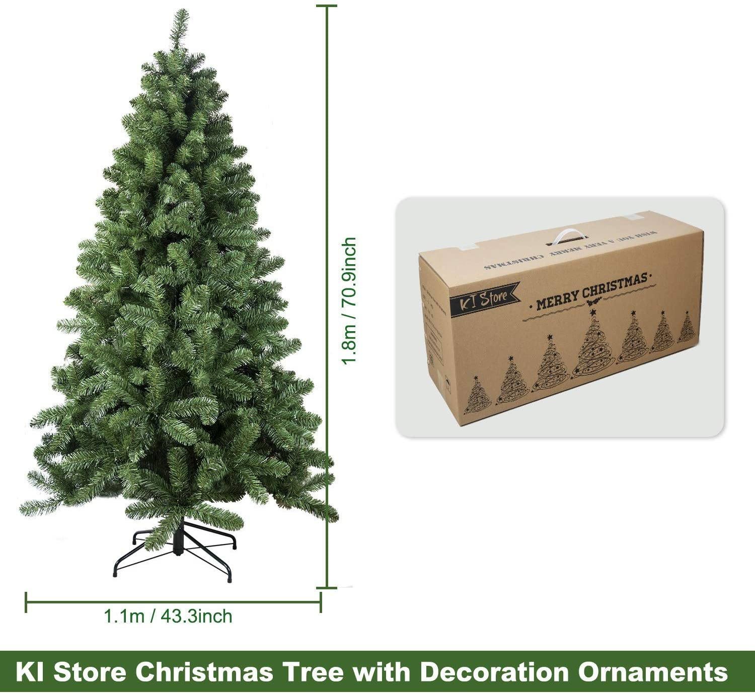 6ft Artificial Christmas Tree with Ornaments and Lights
