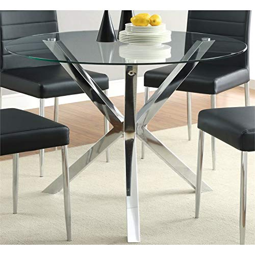 BOWERY HILL Round Glass Top Contemporary Dining Table