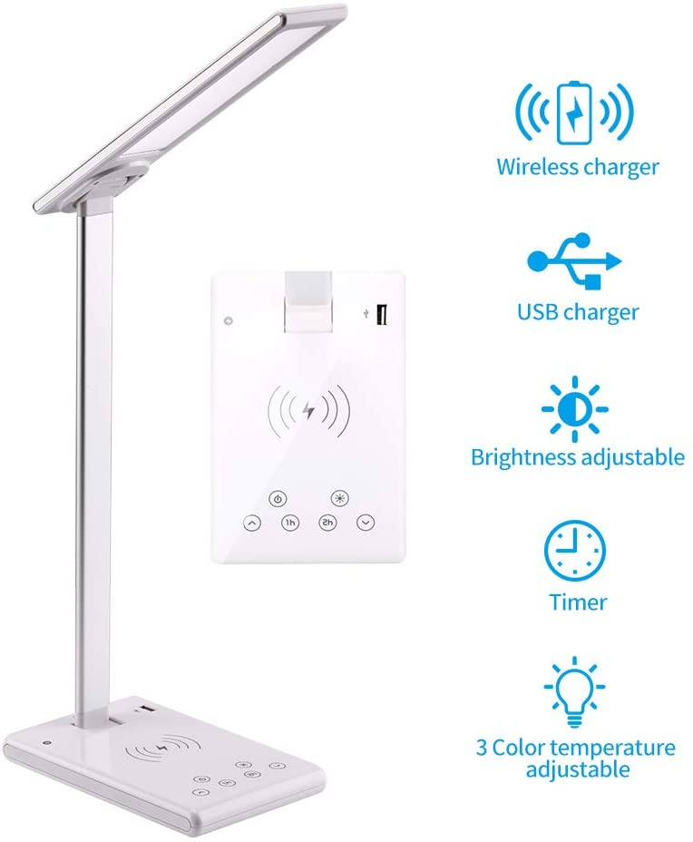 Dimmable Table Lamp with Fast Wireless Charger