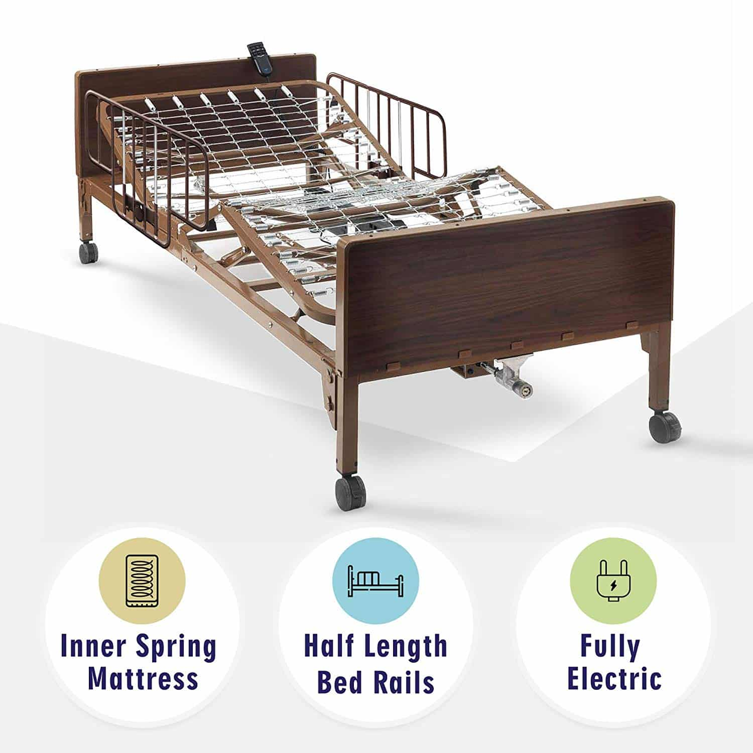 Full Electric Hospital Bed with innerspring Mattress and Half Rails