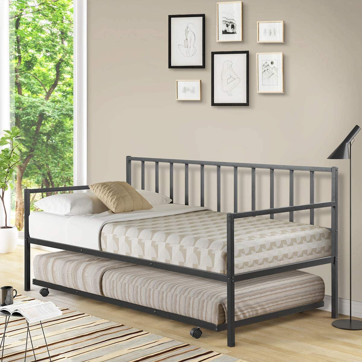 Giantex Trundle Bed with Four Castors