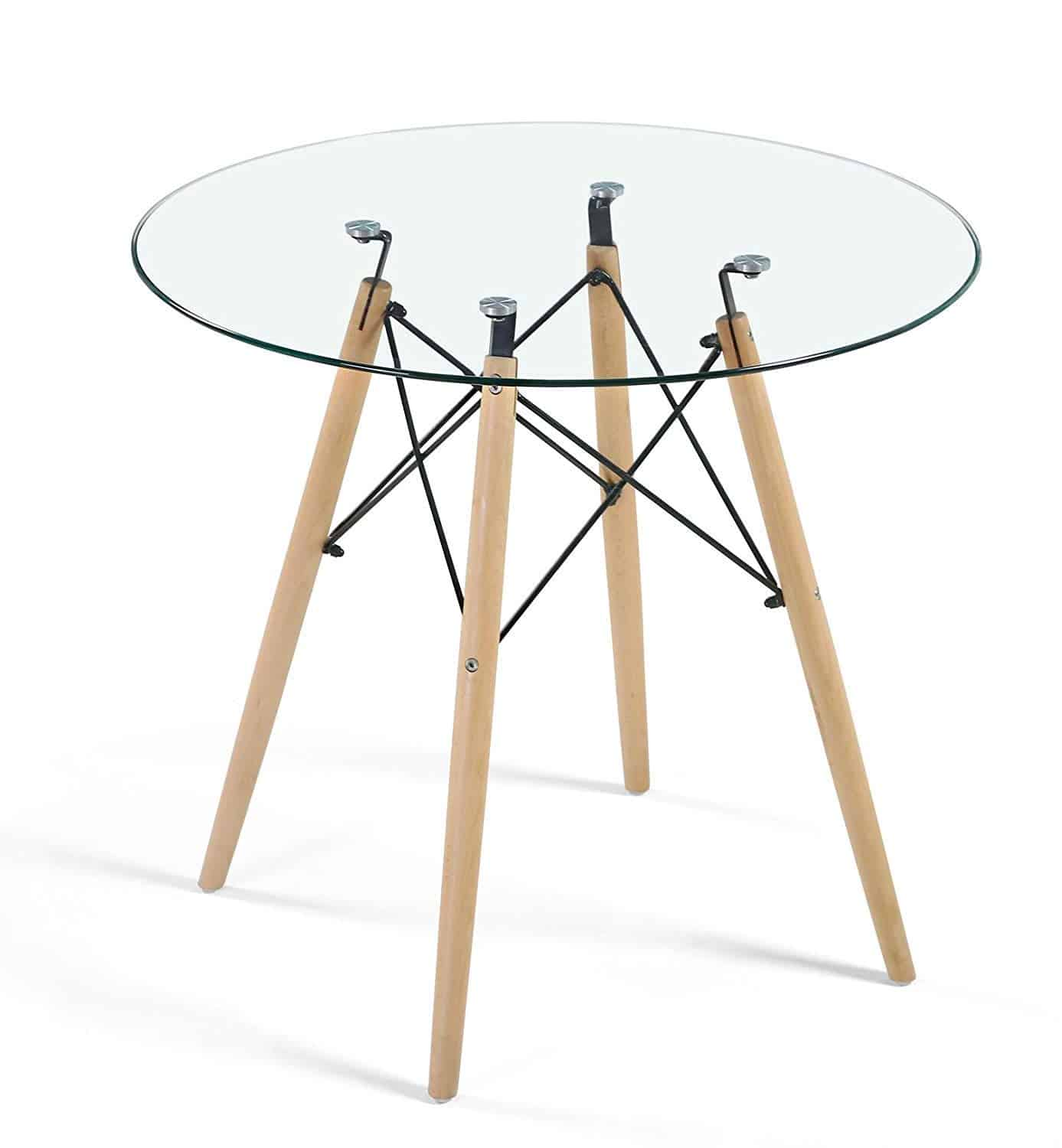 HAYOSNFO Modern Dining Table with Glass Top