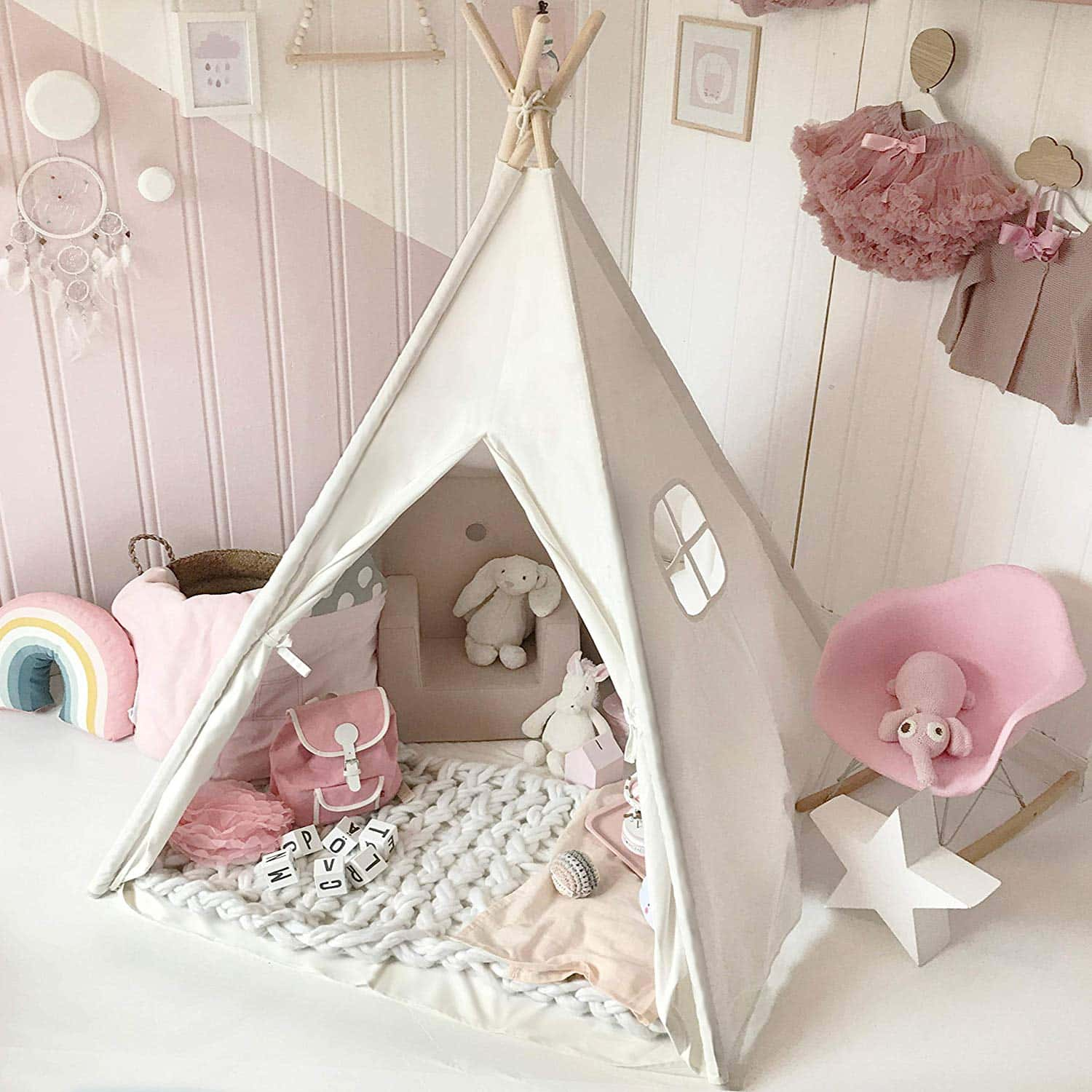 Kids Teepee Tent with Padded Mat & Light String