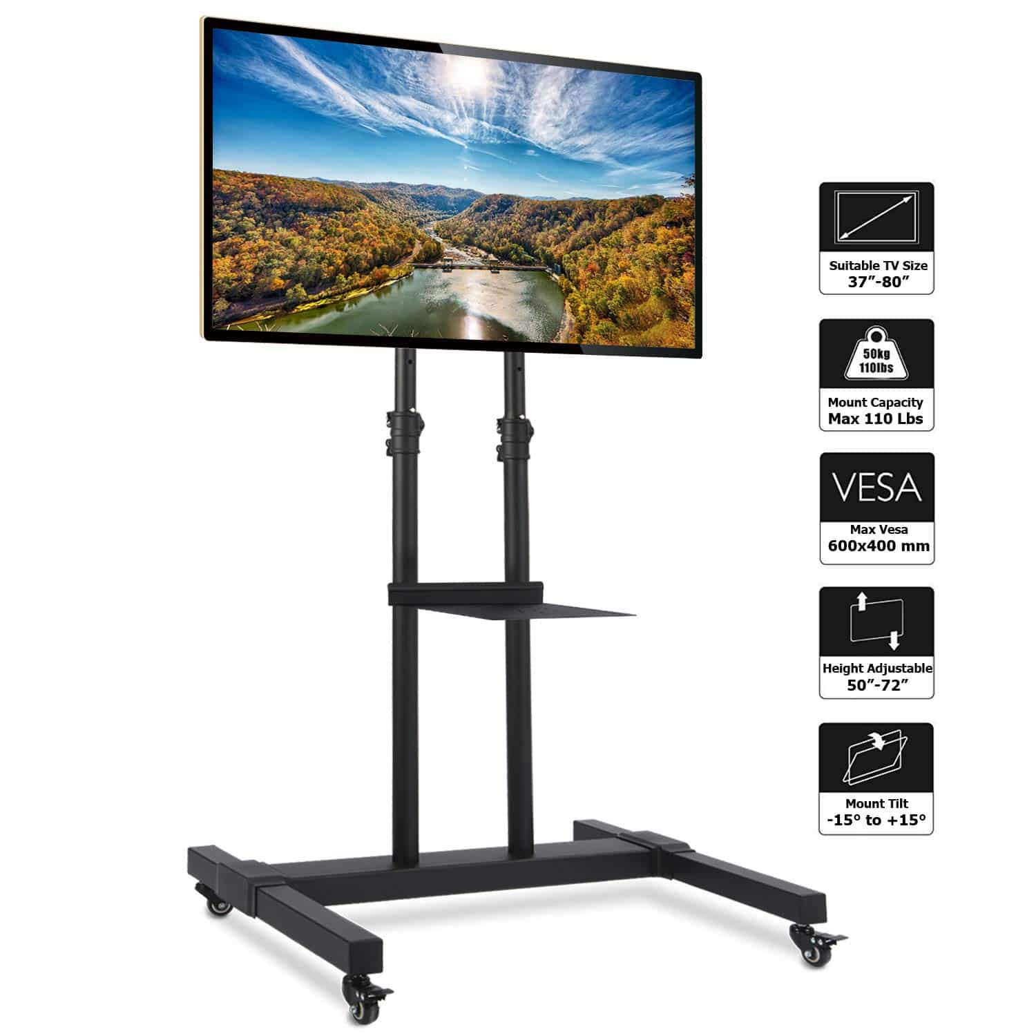 Rfiver Mobile TV Stand Rolling TV Cart
