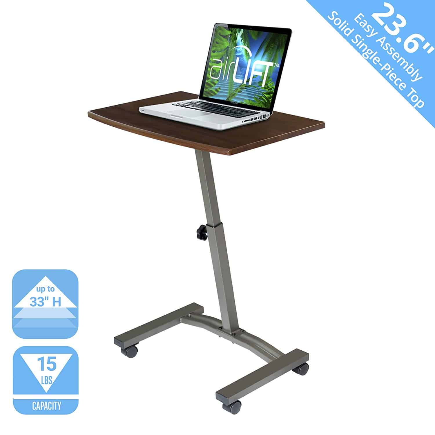 Seville Classics Solid-Top Height Adjustable Mobile Laptop Desk Cart