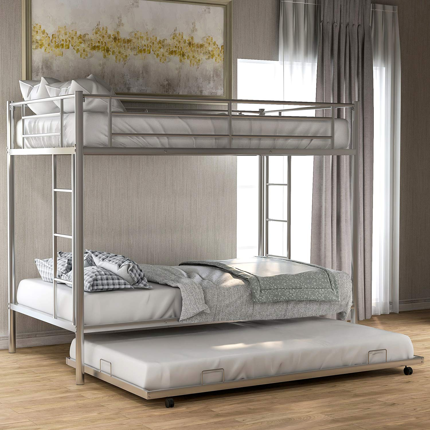 Twin Over Twin Metal Bunk Bed with Trundle, Rockjame