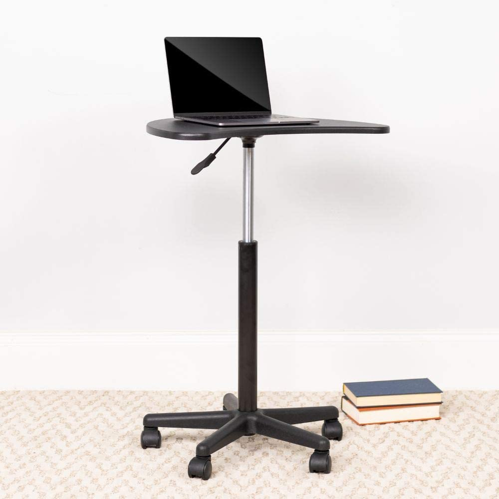 Flash Furniture Black Sit-to-Stand Mobile Laptop Computer Desk