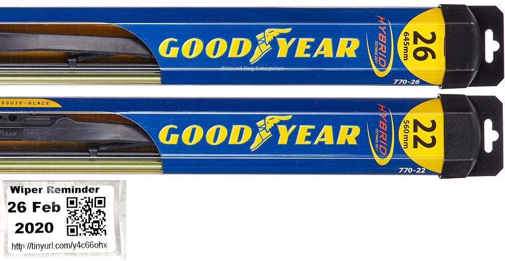 Goodyear Hybrid Windshield Wiper Blade Set for 2006-2015 Sedan