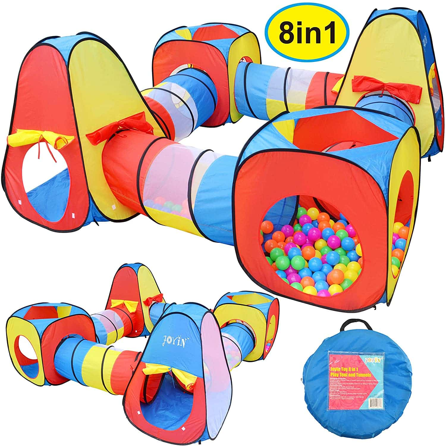 JOYIN 8 in 1 Pop Up Play Tent Tunnel