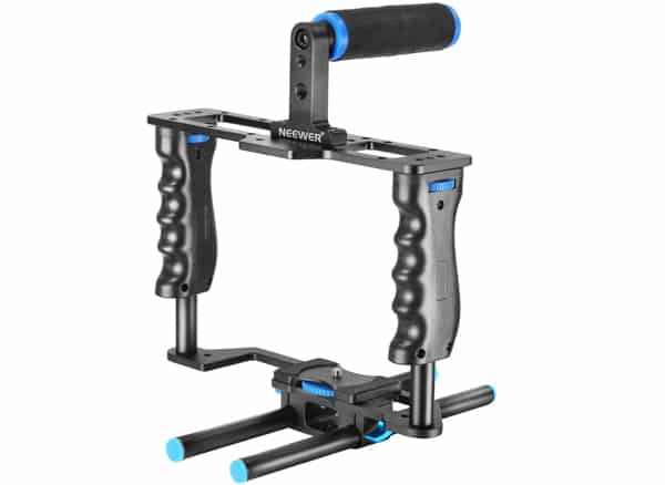 Neewer Aluminum Alloy Camera Video Cage Film Movie Making Kit includes :(1)Video Cage(1)Top Handle Grip(2)15mm Rod for DSLR Cameras Such as Canon 5D Mark II III 700D 650D Nikon D7200 Pentax Sony Olympus