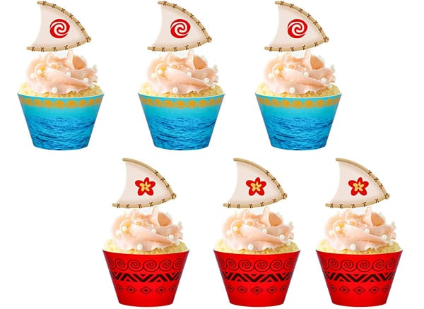 Luck Sea Moana Cupcake Toppers Wrappers