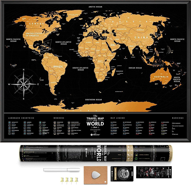 Black Premium Edition Scratch off World Map