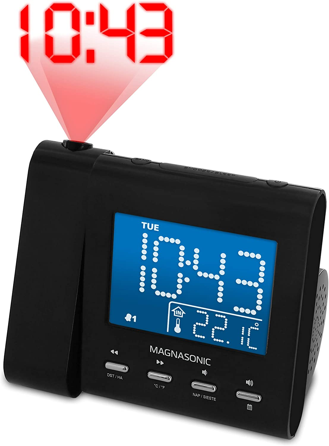 Magnasonic (EAAC601) Projection Alarm Clock with FM Radio
