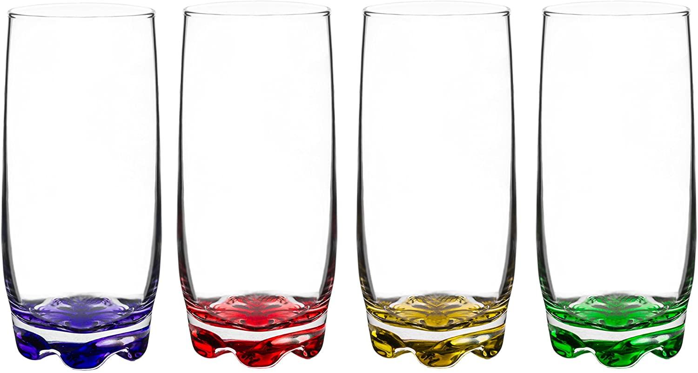 Red Co. Vibrant Splash Highball Glasses