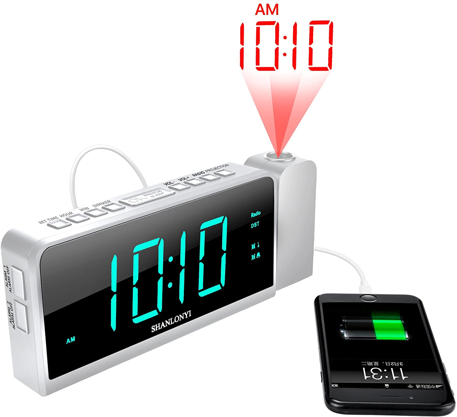 SHANLONYI Projection Alarm Clock