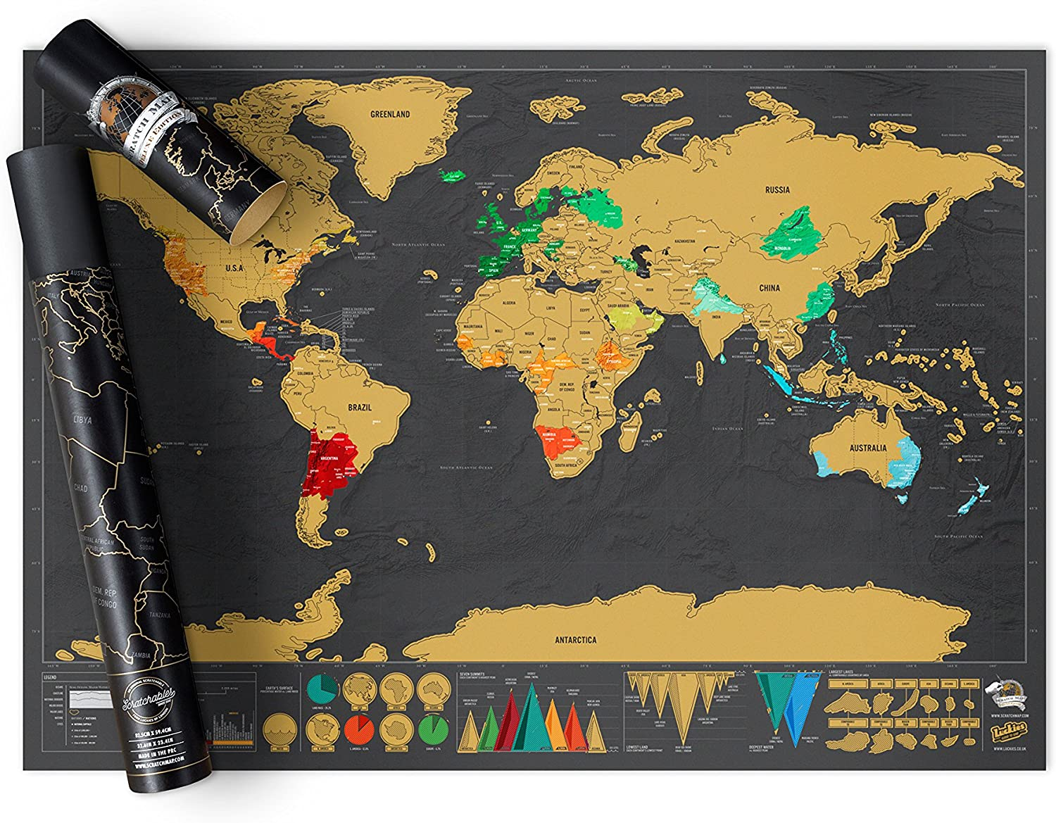 Scratch off Deluxe Edition World Poster Map