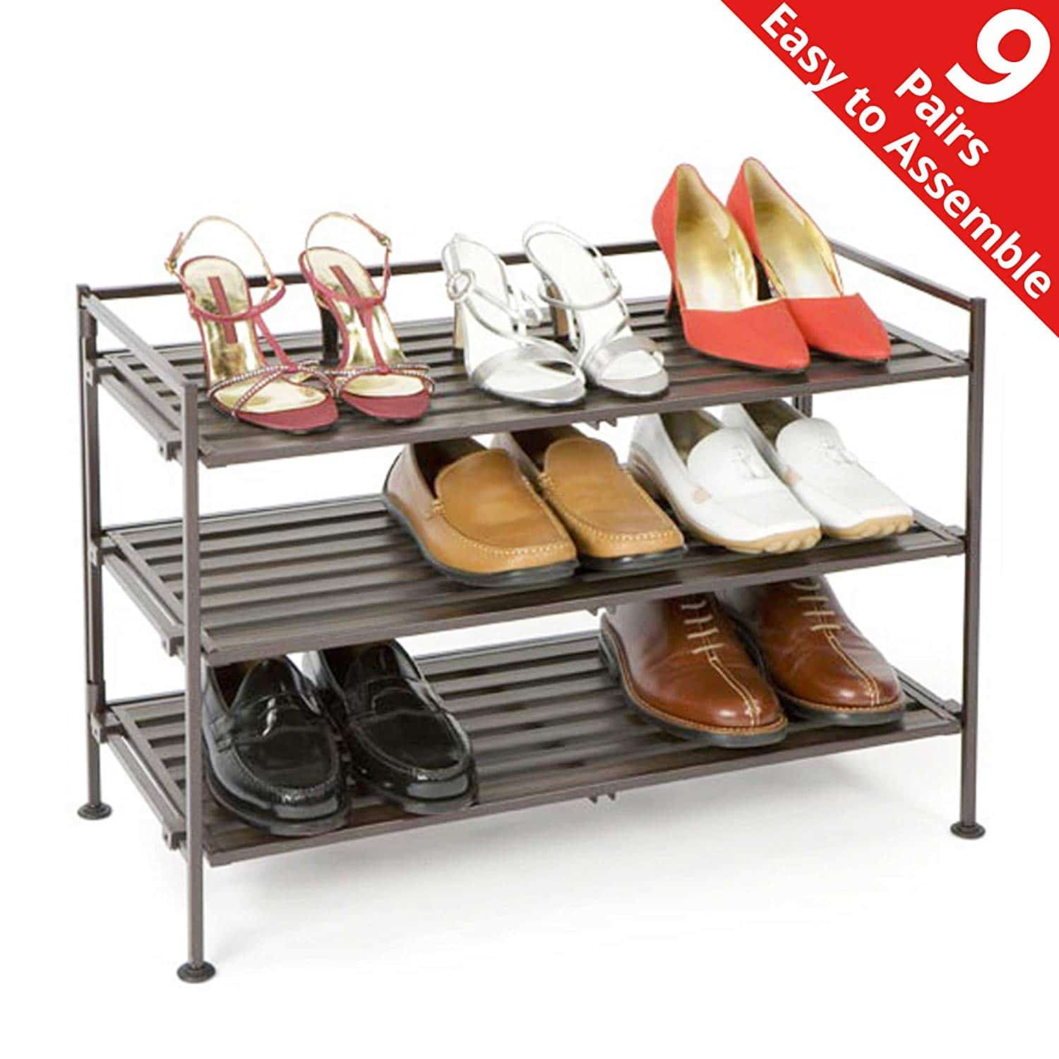 Seville Classics Shoe Storage Organizer Rack Stand